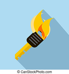 Burning torch icon in flat style - icon in flat style on a...