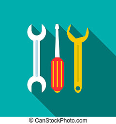 Wrench, screwdriver, spanner tools icon in flat style on a...