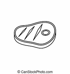 Meat steak icon, outline style - Meat steak icon in outline...