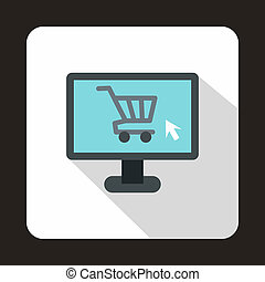 Computer monitor with shopping cart icon - icon in flat...