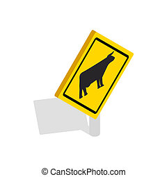 Cattle traffic warning icon, isometric 3d style - Cattle...