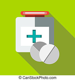 Medicine bottle and tablets icon, flat style