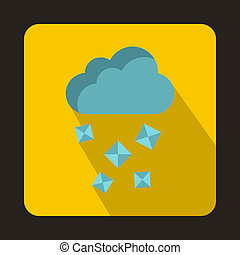 Cloud and hail icon in flat style - icon in flat style on a...