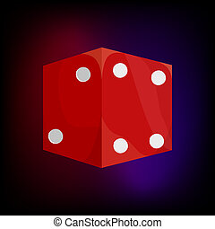 Red dice icon in cartoon style - icon in cartoon style for...