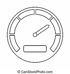 Speedometer icon, outline style - Speedometer icon in...