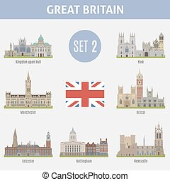 Famous Places cities in the UK Kingston, Manchester,...