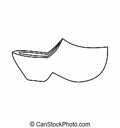 Clogs icon, outline style - Clogs icon in outline style...