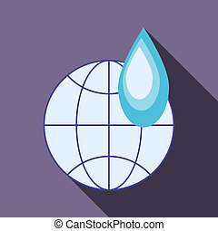 Globe and water drop icon, flat style