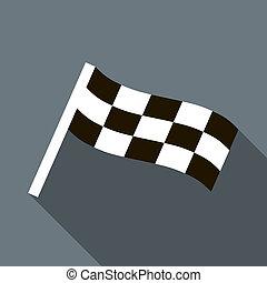 chequered, drapeau, moteur, icône, dans, plat, Style