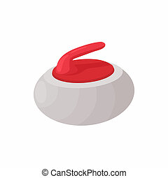 Curling stone icon, cartoon style - Curling stone icon in...