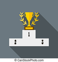 Cup of winner award on white podium icon - icon in flat...