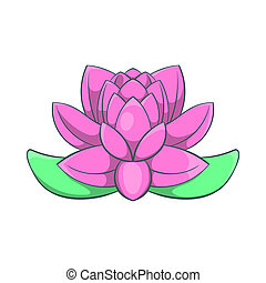 Pink lotus flower icon, cartoon style - icon in cartoon...