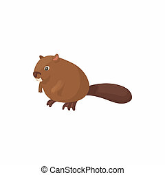 Beaver icon, cartoon style - Beaver icon in cartoon style...