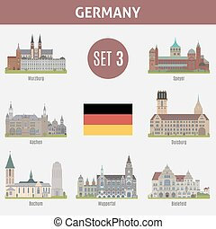 Famous Places cities in Germany. Wurzburg, Speyer, Aachen,...