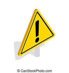 Danger warning sign icon, isometric 3d style