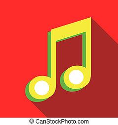 Two music notes icon in flat style - icon in flat style on a...
