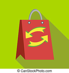Red paper shopping bag with refresh arrows icon - icon in...