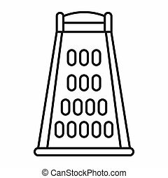 Kitchen grater icon, outline style - Kitchen grater icon in...