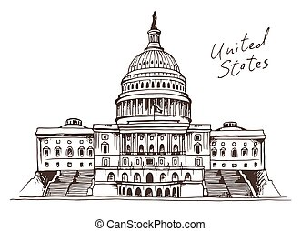 United States Capitol Building vector illustration,...