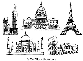 World landmark vector set