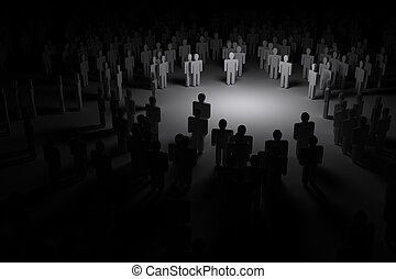 Crowd of people in the dark