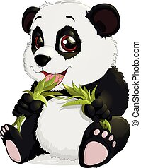 Very cute Panda eating bamboo - Bear eats bamboo leaves on a...