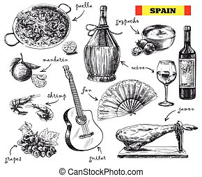 food, drink and the mood in Spain - hand drawn sketches of...
