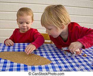 biscoitos, trabalhando, junto, crianças,  gingerbread, fazer, Natal