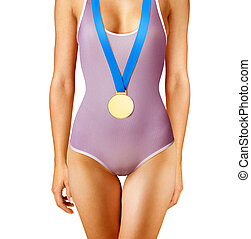 gold medal winner - Part of beautiful winner wearing gold...