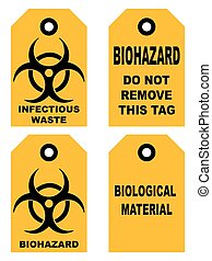 Biohazard symbol sign of biological threat alert, black yellow signage text, isolated