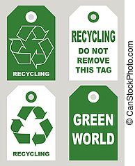Recycling tags set front and back sidesOrganic eco natural cardboard label set. Vector illustration