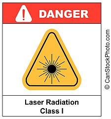 Danger laser radiation Class I symbol in yellow triangle...