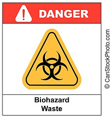 Biohazard symbol sign of biological threat alert, black yellow triangle signage text, isolated