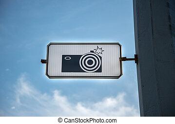 macchina fotografica, strada, segno