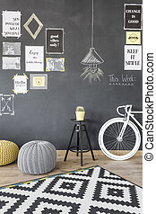 Creative motivation wall idea - Home interior with...
