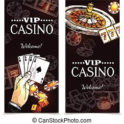 Sketch Casino Vertical Banners - Vip casino color vertical...