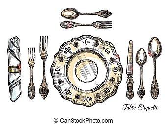 Table Etiquette Hand Drawn Illustration - Table etiquette...