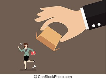 Business woman running away from cardboard box. Business...