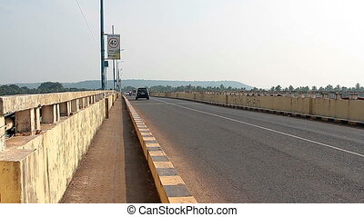 Big traffic on the Siolim bridge - Goa, India - February 27,...