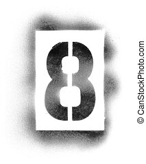 Stencil numbers in spray paint