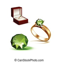 Gold Engagement Ring Green Shiny Clear Diamond Red Jewelry...