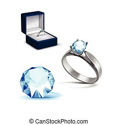 Silver Engagement Ring Light Blue Shiny Clear Diamond...