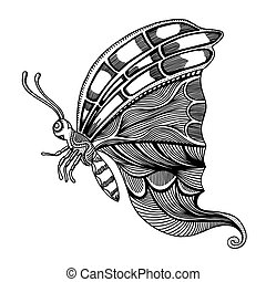 butterfly sketch vector - butterfly sketch Hand drawn vector...