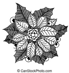Monochrome poinsettia. Vector illustration.