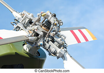 helicopter rotor blades - close-up of helicopter tail rotor...