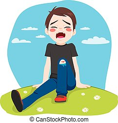 Boy Crying Hurt - Little boy hurt crying after falling in...