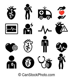 Heart disease, heart attack icons - Health, medical icons...