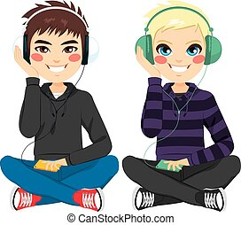 Boys With Headphones Sitting - Young boys on casual clothes...