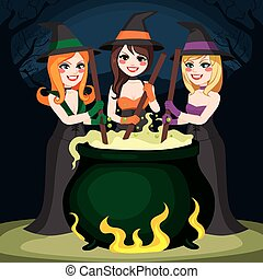 Halloween Witches Potion - Three Halloween witches cooking...