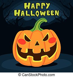 Happy Halloween Pumpkin - Spooky laughing pumpkin with happy...